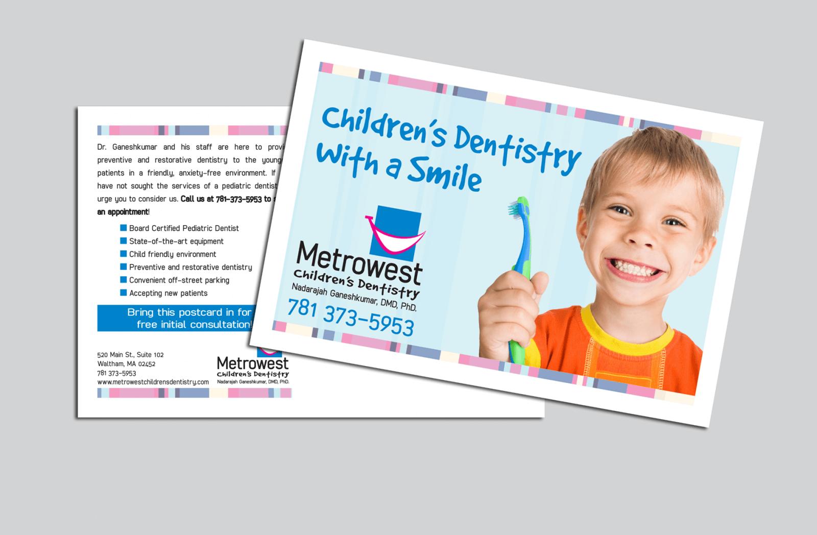 Metrowest Children's Dentristry postcard