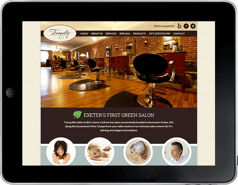 tranquility spa website design