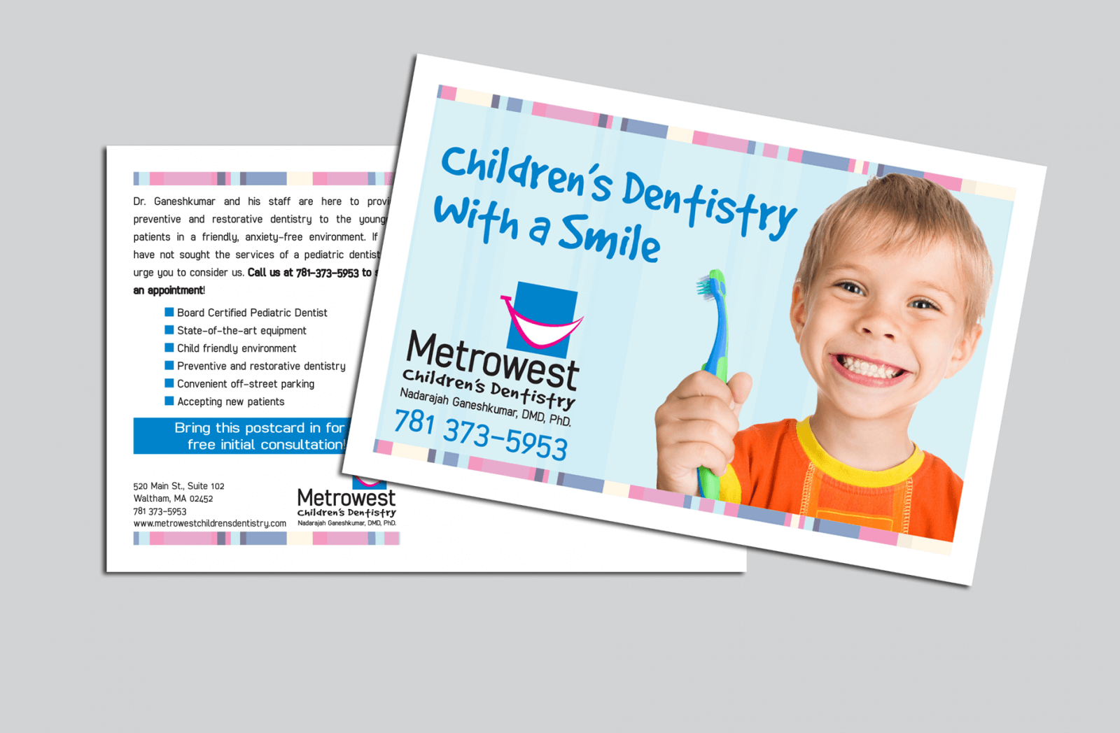 Metrowest Children's Dentristry postcard