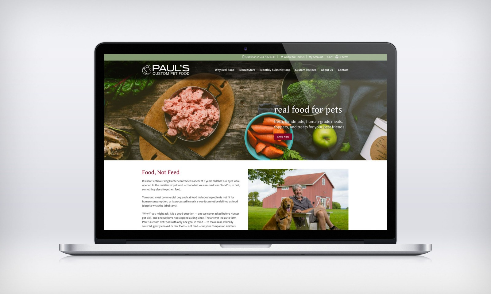 Paul's Custom Pet Food website